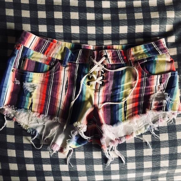 Billabong Pants - Billabong multicolored frayed lace up shorts